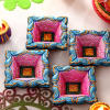 Pink and Blue Painted Clay Diyas