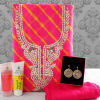 Pink Gota Work Dress Material with Gold Plated Earring & Kaya Kalp Skincare Hamper