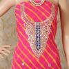 Gift Pink & Yellow Leheriya Kurti Material with Gota Work