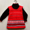 Red & Black Woolen Skivvi Tunic Set for Baby Girl