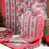 Red Flower Rajasthani Print Double Bed Quilt