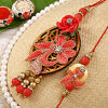 Resham Embroidered Bhaiya Bhabhi Rakhi Set