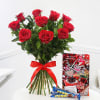 Roses with Bars of Perk Chocolate & Love Card