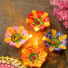 Round Painted Clay Diyas