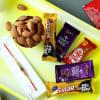 Rudraksh Rakhi with Chocolates & Almonds in Gift Bag