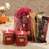 Set of 2 Beautiful Diyas with Assorted Chocolates