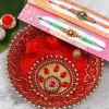 Set of 2 Fancy Rakhi with Puja Thali