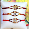 Set of 3 Attractive Stone & Bead Work Rakhi