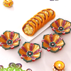 Set of 4 Beautiful Clay Diyas with Orange Dry Fruit Casatta Roll