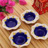 Set Of 4 Blue Pottery Diyas