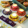 Set of 4 Designer Diya with Cadbury Chocolates