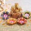 Set of 4 Floral Design Clay Diya with Gold Coin Chocolates Box