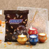 Set of 4 Matka Diyas with Snickers Miniature Pack