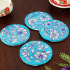 Set of 4 Pieces Blue Pottery Flower Design Coaster