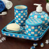Set Of 5 Blue Pottery Bathroom Accessories