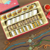 Set of 5 Multicolor Metal & Meenawork Rakhi with Indian Sweets