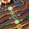 Gift Set of 5 Stone Rakhi with Dry Fruits Potli