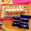 Set Of Five Pearl Rakhi with Kaju Badam Anjeer Mix Mithai