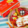 Set of Four Divine Rakhi in Puja Thali with Soan Papdi