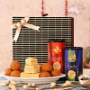 Set of Two Dry Fruit Can With Soan Papdi & Besan Laddoo Hamper