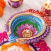 Single Multicolored Clay Diya