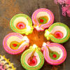 Sombre Set Of 6 Painted Clay Diyas