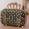 Stone Studded Green Clutch With Knuckle Grip