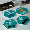 Gift Super Hero Dad Personalized Coasters With Stand