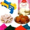 Sweet Hamper with 4 Shades of Holi Gulal and Pichkari