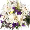 Sympathy Bouquet Von Herzen with grave vase