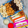 Three Designer Beaded Rakhi with Dry Fruits