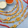 Traditional 5 Pc Designer Rakhi Set of Om and Ganesha