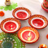 Traditional Set of 4 Painted Clay Diyas