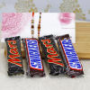 Two Classy Rakhis with Two Mars & Snickers Chocolates