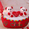 White & Red Teddy Bears on a Boat Shaped Soft Toy