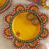 Wooden Embossed Kundan Work Puja Thali