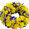 Wreath for funeral, yellow-blue
