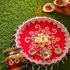 Gift Zari Work Karwa Chauth Puja Thali