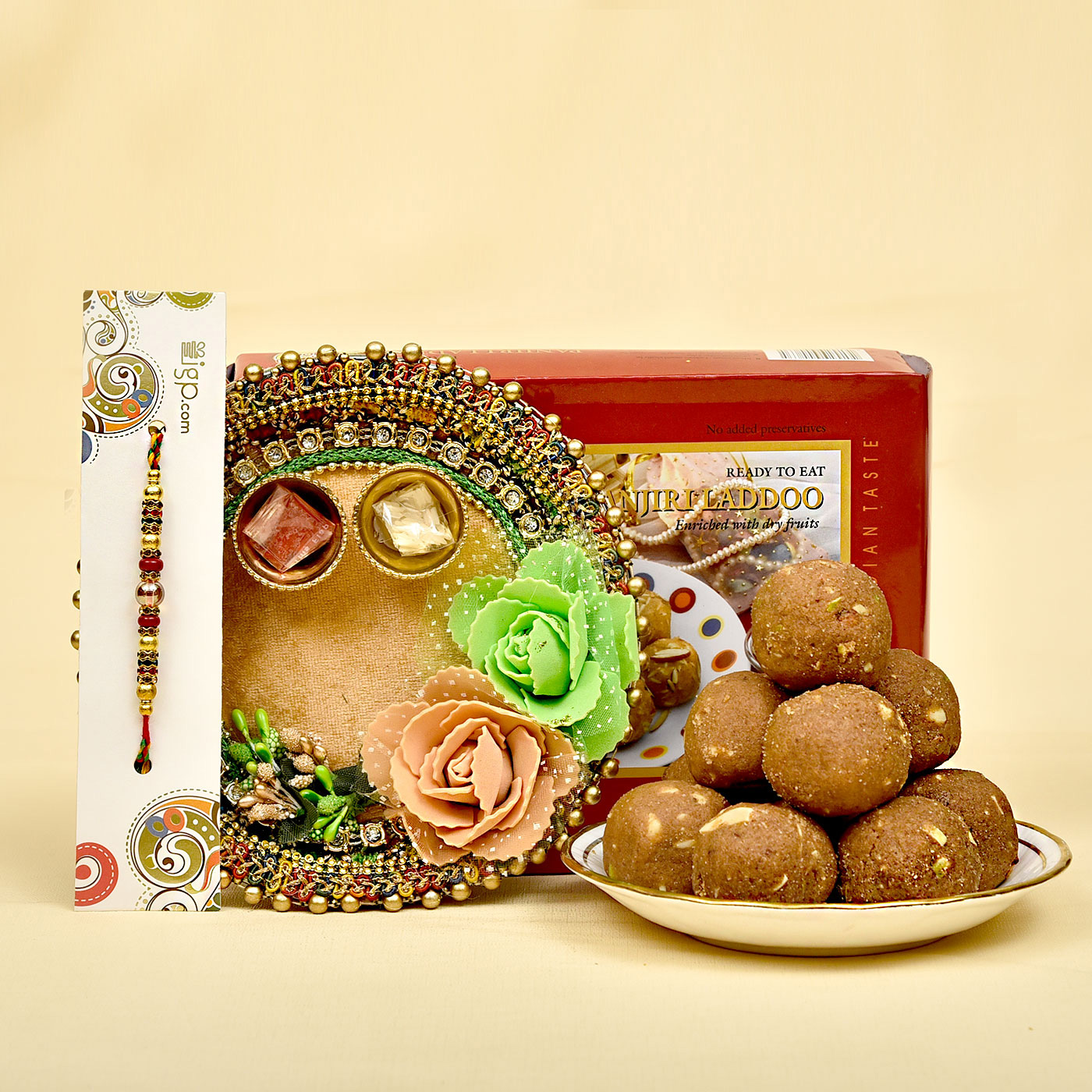 colorful-stones-beads-embellished-rakhi-with-panjiri-laddoo-designer-thali